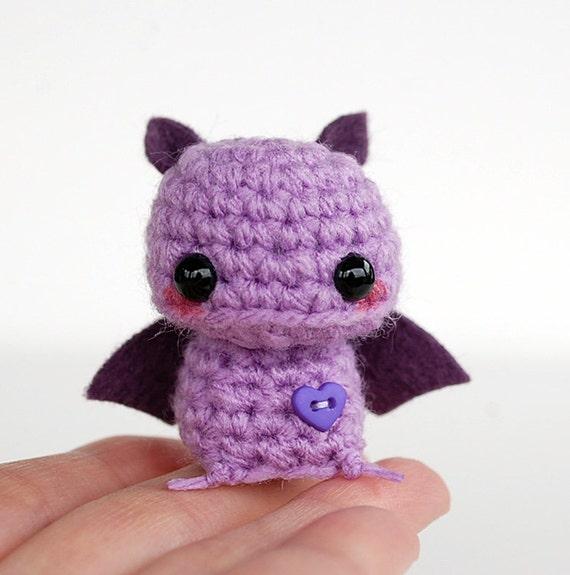 Baby Purple Bat Kawaii Mini Amigurumi by twistyfishies on Etsy