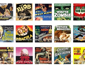 INSTANT DOWNLOAD...Retro Horror Movie Posters...1 Inch Square Images Collage Sheet for Glass Pendants ...Buy 3 get 1