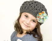 Girl Beret - Wool Beret - Girl Winter Hat - Fall Hat - Steel Grey Teatime Beret with Flower Clip - Size 5
