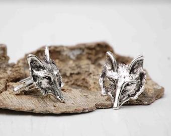 Silver Fox  Cuff Links Wolf Gothic Vintage Wedding Groom Forest Woodland