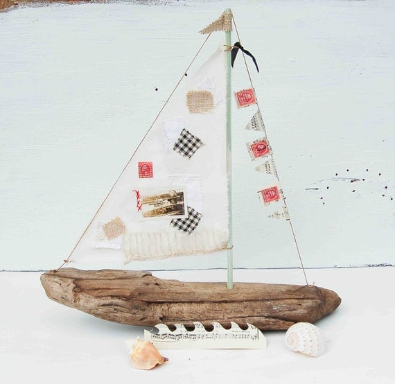 Driftwood Sailboat Wooden Boat Sailor Nautical Ocean Cottage