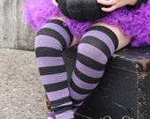 Purple and Black Striped Halloween Baby Leg Warmers FREE SHIPPING