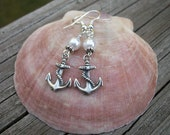 Anchor's Away - Silver Plate - Swarovski Pearl - Ocean Inspired - Bridal Party Gift - Island Destination Wedding
