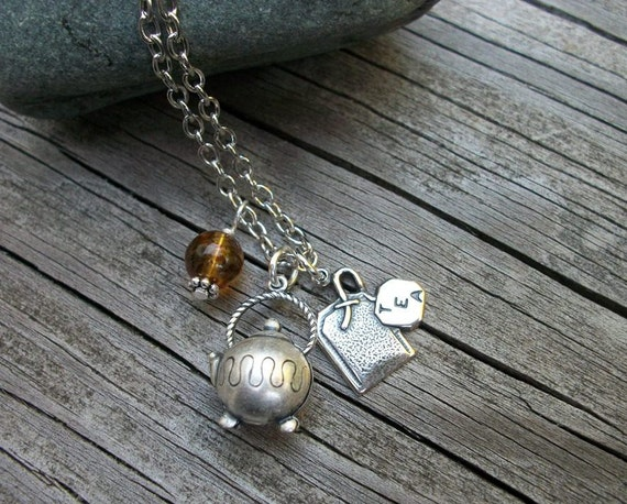 Expressions - Jewelry With A Statement - A Cup Of Tea Solves All Worries - Silver Teapot - Teabag - Brown Glass Bead
