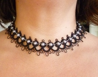 Tatted Lace Choker necklace -The Debutante with Glass Pearls in modern colors MTO