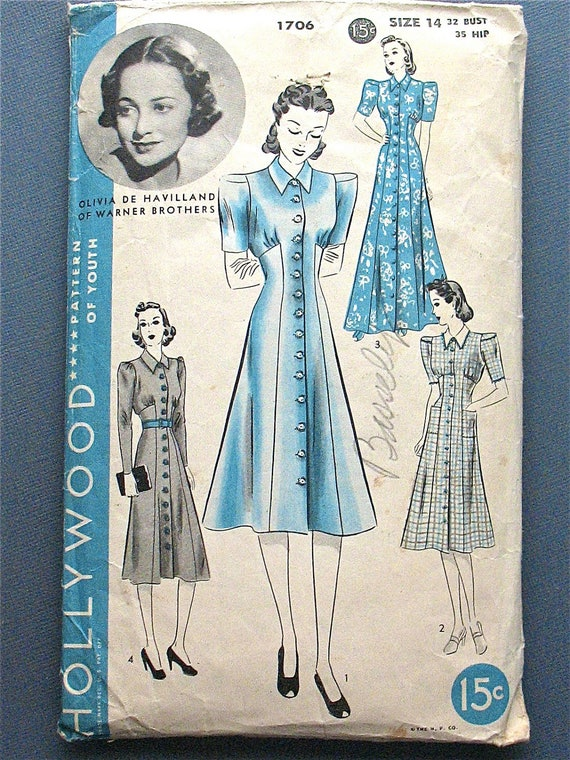 Vintage 1930s Hollywood 1706 sewing pattern for dress in two styles.  Bust 36 and Hip 39