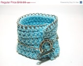 ON SALE Blue Crochet Bracelet . Light Blue Knit Bracelet.