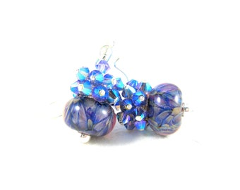 Blue Purple Earrings, Purple Crystal Earrings, Boro Lampwork Earrings, Cluster Earrings, Beadwork Earrings, Glass Earrings - Dragons