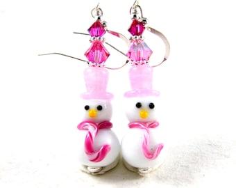 Pink Snowman Earrings, Christmas Dangle Earrings, Holiday Earrings, Lampwork Earrings, Winter Holiday Jewelry, Christmas Jewelry, Snow Lady