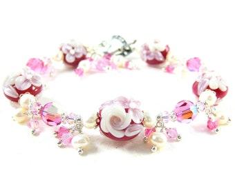 Rose Bracelet, Raspberry Pink & White Floral Bracelet, Nature Jewelry, Lampwork Bracelet, Glass Bracelet, Floral Jewelry, Romantic Jewelry