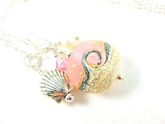 Pink Beach Necklace, Seashell Necklace, Pink White Wave Lampwork Necklace, Summer Necklace, Ocean Charm Necklace, Beach Jewelry - Pink Sands