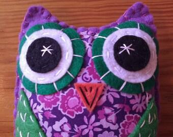 Top Hoot Violet Eco Felt Plush Owl Toy Plush Art