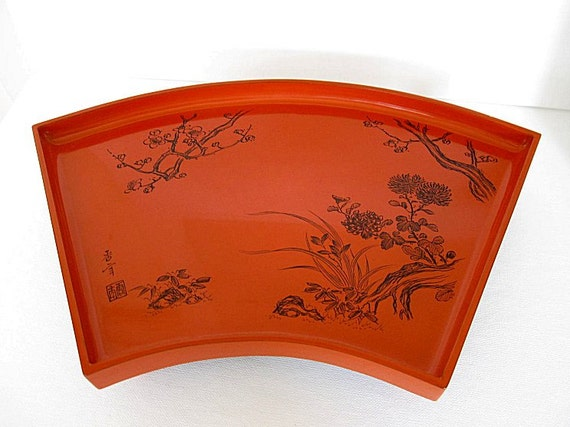 Vintage Chinoiserie Tray Lacquerware Wood Red Orange Footed Carved, Signed Asian