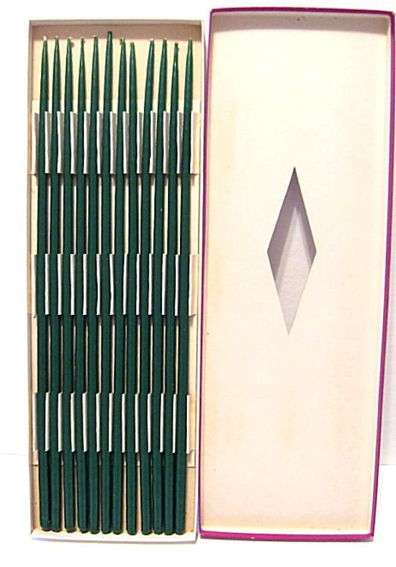 """12 Vintage Danish Modern Thin Tapers - Forest Green Hand Dipped 14"""" NEW"""