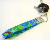 Wristlet Key Fob Kaffe Fassett Fabric Keyring Keychain Persimmon Green Turquoise Teal Blue  Handmade MTO