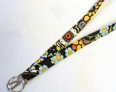 Amy Butler Fabric LANYARD Badge Holder Breakaway Lanyard Designer ID Clip Key Ring Fob Geisha Fans Black Olive Handmade MTO