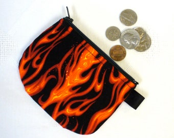Mens Coin Purse Flames Boys Coin Purse Little Zipper Change Purse Black Red Orange Handmade MTO