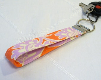 Amy Butler Fabric Wristlet Key Chain Fob Keyring Ring Sandlewood Tangerine Orange Lavender Paisley Fabric Key Fob MTO