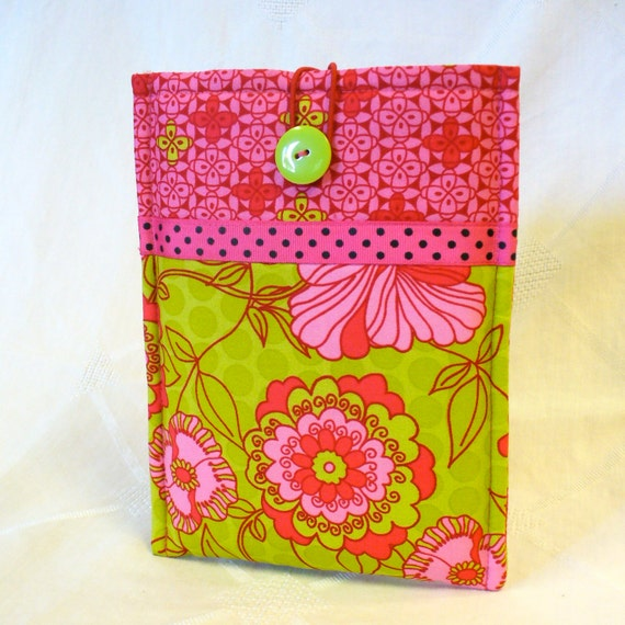 NOOK Tablet Sleeve iPad Mini Case Nook Color Cover Padded Sleeve Ready to Ship Hot Pink Green Floral