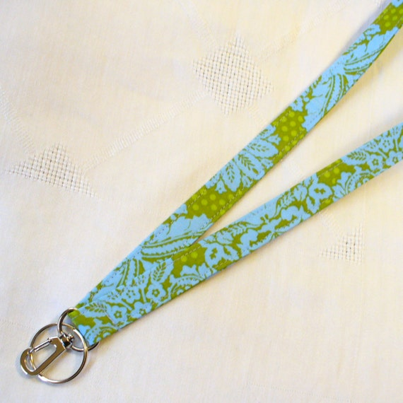 Damask Fabric Lanyard ID Badge Holder Breakaway Lanyard Key Ring Fob Blue Olive Green MTO
