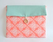 iPad Case, iPad Clutch Case Bag, New iPad Air Sleeve, Custom Tablet Case - Coral Damask