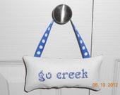 Go Creek Cross Stitch Hanging Pillow