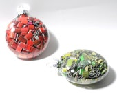 50 percent off - medium, flat, glass ornaments- made from recycled magazines, red, blue, green, yellow, multi-colored, white