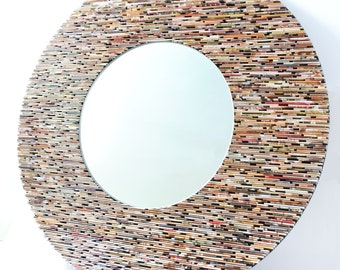 24 inch diameter neutral round  mirror, wall art- made from recycled magazines, brown, tan, neutral