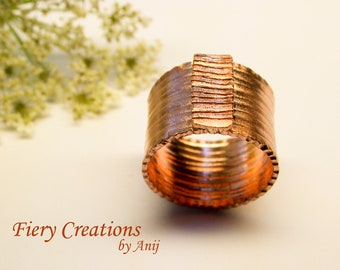 """Cigar Band Ring """"Zen"""" Hand Fabricated, Engraved Copper Band, OOAK"""