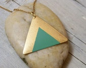 Hand painted double triangle necklace - green