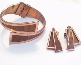 Vintage Renoir Copper Wood Veneer NILE Hinged Clamper Bangle Bracelet Clip Earrings Set