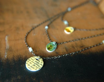 Wearable Art Bib Necklace Tiny Pendants Tiered  - Wish You Were Here.