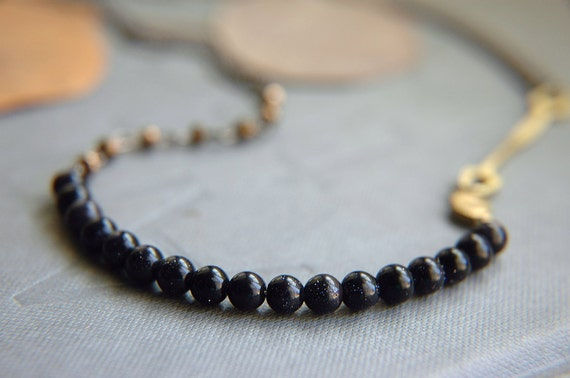 Starry Blue Goldstone and Czech Glass Necklace - True North.