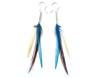 Soft Floaty Feather Earrings in Turquoise Blue, Cream and Reddy Brown