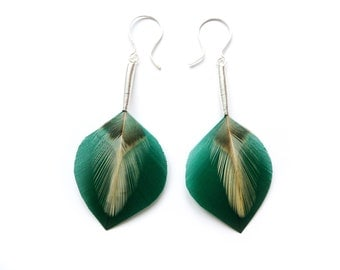 Small Minimalist Leaf Shaped Drop Feather Earrings in Teal Green & Cream