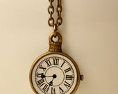 watch necklace - clock necklace - vintage style -  time necklace - bronze watch - roman numeral - closing shop, please min. order 10 usd