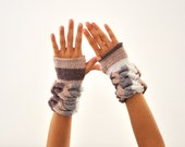 Handmade Gloves Cashmere Fingerless Gloves Wrist Warmers Mittens Brown Ivory White Fall Colors Gift for Her