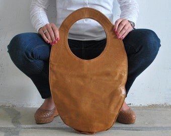 Camel tote bag, large leather handbag, camel brown oval bag, minimal handbag, camel leather handbag