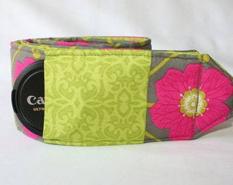 Ready to Ship Monograming Not Available  Extra Long Wide Camera Strap for DSL camera Grey, Lime and Fushia with  lens cap pocket