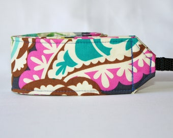 Monogramming available Camera Strap for DSL Camera  Navy, Fushia, Turquoise, and Lime Paisley Print