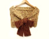 Scarf knit fuzzy cowl cape hood pale yellow brown fall winter