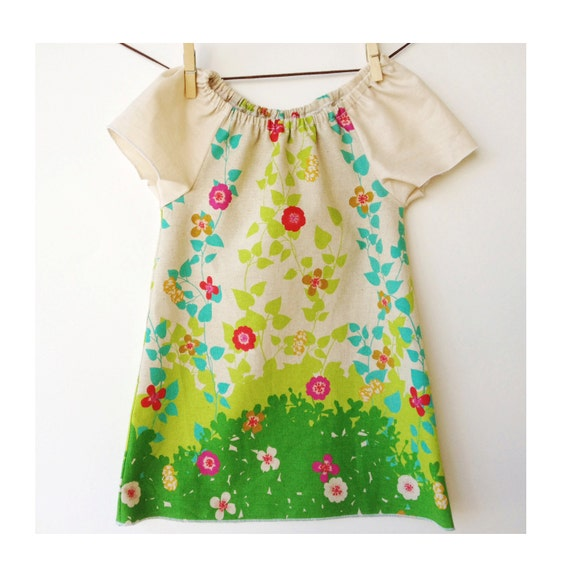 Peasant Dress for Girl's - Dress or Tunic for Baby, Toddler and Youth Girls -  With Linen / Cotton Fabric