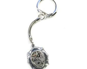 Steampunk Vintage Waltham Watch Silver Key Chain