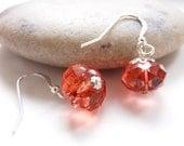 Tangerine Crystal Earrings with Sterling Silver