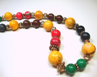 Multi-Colored Magnesite Necklace with Gold Toned Accents, Gift for Her