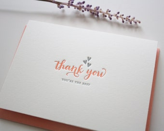 Letterpress Thank You Hearts : Set of 6