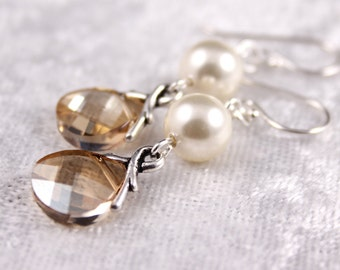 Bridesmaid Jewelry, Champagne Jewelry,Crystal and Pearl Bridal Earrings Savannah