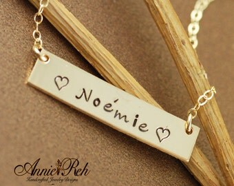 Personalized Gold Bar Necklace - Gold Bar Name Necklace - 14kt Gold Filled - Dainty Gold Bar Necklace, Custom Name Necklace, Name Plate
