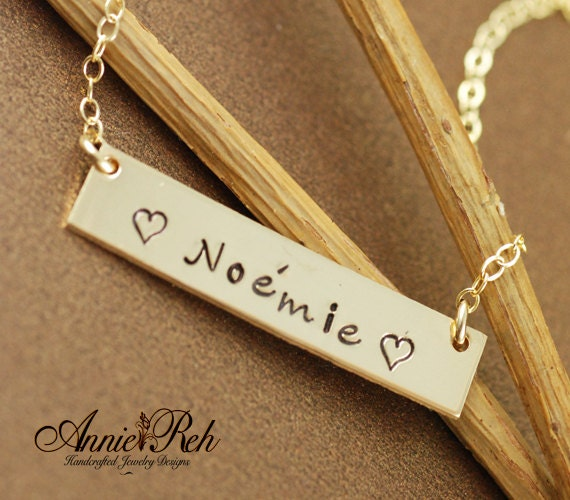 Personalized Gold Bar Necklace - Gold Bar Name Necklace - 14kt Gold Filled - Gold Bar Necklace