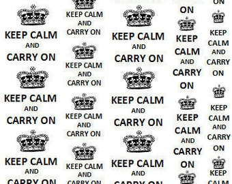 Fusible Sepia Decals for Glass Image Transfer Keep Calm and Carry On Decals